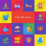 Ensemble de vecteur de 14 icônes montrant la vie de ville dans le style matériel de conception de brutalism illustration libre de droits