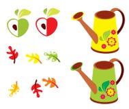 Ensemble de vecteur de jardin - feuilles de polyroll, de pomme et de chêne Image stock