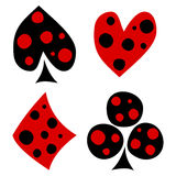 Ensemble de vecteur de jouer des symboles de carte Icônes noires et rouges décoratives tirées par la main avec des points d'isole Image libre de droits