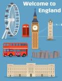Ensemble de vecteur de l'endroit et du point de repère célèbres de Londres illustration stock