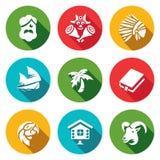Ensemble de vecteur de la vie sur des icônes de l'Île déserte Robinson Crusoe, aborigène, vendredi, navigation, Palma, romain, pe Photographie stock libre de droits