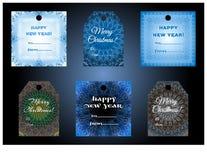 Ensemble de vecteur de labels de célébration d'hiver Photo stock