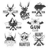 Ensemble de vecteur de labels de club de chasse Insignes, emblèmes, logos et bannières monochromes dans le style de vintage Illus Photographie stock libre de droits