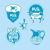 Ensemble de vecteur de logo de lait et de produit de la ferme de laiterie illustration libre de droits