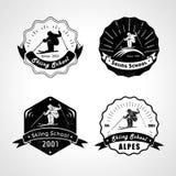 Ensemble de vecteur de logos de ski, d'emblèmes et d'éléments de conception illustration stock