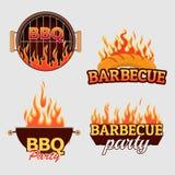 Ensemble de vecteur de logos et de labels de barbecue illustration de vecteur