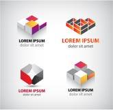 Ensemble de vecteur de logos géométriques abstraits, 3d structure, blocs illustration libre de droits