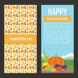 Ensemble de vecteur de milieux de jour de thanksgiving illustration stock