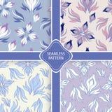 Ensemble de vecteur de modèles floraux en pastel Image stock