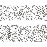 Ensemble de vecteur de modèles floraux sans couture de ruban dans le style national ethnique de l'Ouzbékistan illustration libre de droits