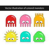Ensemble de vecteur de monstres colorés de bande dessinée Photographie stock