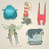 Ensemble de vecteur de monstres mignons de bande dessinée d'illustrations Image stock