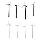 Ensemble de vecteur de moulins à vent illustration libre de droits