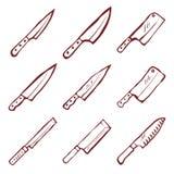 Ensemble de vecteur de neuf couteaux de cuisine Image stock