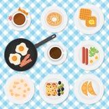 Ensemble de vecteur de nourriture de petit déjeuner Photo stock