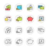 Ensemble de vecteur de paiement et finances d'icônes, transparent et couleur Photo stock