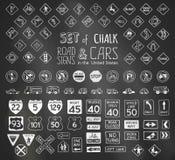 Ensemble de vecteur de panneaux routiers de craie dans les Etats-Unis et les véhicules illustration de vecteur
