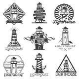 Ensemble de vecteur de phares de style de vintage Logos, insignes, emblèmes, icônes ou labels d'isolement dans le monochrome Photos stock