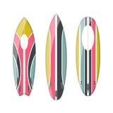Ensemble de vecteur de planches de surf colorées décorées Photo stock