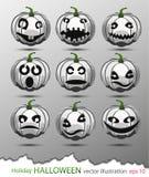 Ensemble de vecteur de potirons blancs avec différentes émotions en l'honneur des vacances de Halloween Photos libres de droits