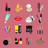 Ensemble de vecteur de produits cosmétiques Éléments multicolores pour créer un maquillage Photo stock