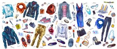 Ensemble de vecteur de regard à la mode, aquarelle illustration libre de droits