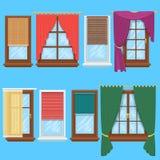 Ensemble de vecteur de rideaux et d'abat-jour en fenêtre illustration de vecteur