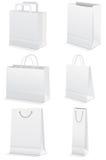 Ensemble de vecteur de sacs à provisions de papier blanc. Image libre de droits