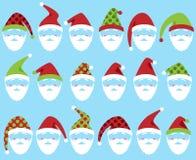 Ensemble de vecteur de Santa Claus Faces ou de chefs mignons Images libres de droits