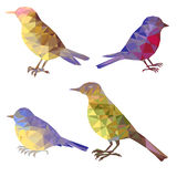 Ensemble de vecteur de silhouettes polygonales d'oiseaux illustration stock