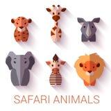Ensemble de vecteur de six animaux de safari sur le blanc Photographie stock