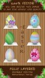 Ensemble de vecteur de six oeufs de couleur de Pâques Photographie stock