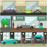 Ensemble de vecteur de station service de voiture, bannières d'intérieur d'atelier de réparations illustration stock