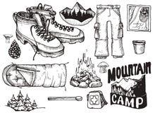 Ensemble de vecteur de substance tirée par la main fortement détaillée de camping Le vintage signe la collection illustration de vecteur