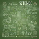 Ensemble de vecteur de symboles de la science de craie illustration libre de droits