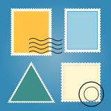Ensemble de vecteur de timbres-poste colorés vides Photographie stock libre de droits