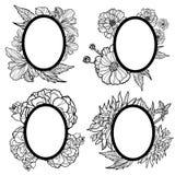 Ensemble de vecteur de trames ovales de cru avec des fleurs Images stock
