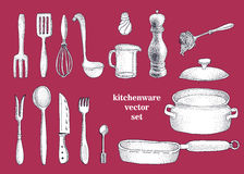 Ensemble de vecteur de vaisselle de cuisine tirée par la main Photo libre de droits