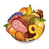 Ensemble de vecteur de viande et de fruits de plat illustration de vecteur