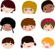 Ensemble de vecteur de visage d'enfants de dessin animé Photos stock