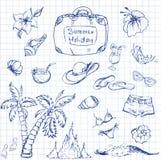 Ensemble de vecteur de voyage d'été et emblèmes et symboles de vacances Images libres de droits