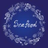 Ensemble de vecteur des fruits de mer comme anneau avec l'inscription Photos libres de droits