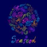 Ensemble de vecteur des fruits de mer en cercle avec l'inscription Image stock