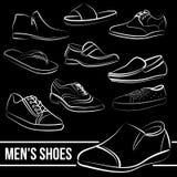 Ensemble de vecteur des lignes peintes par chaussures des hommes Photographie stock