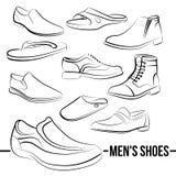Ensemble de vecteur des lignes peintes par chaussures des hommes Image stock