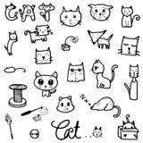 Ensemble de vecteur de dessiner le chat mignon dans la ligne de noir de griffonnage sur le fond blanc illustration libre de droits
