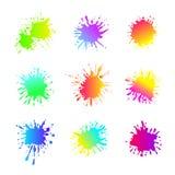 Ensemble de vecteur de différentes formes liquides, couleurs lumineuses acides, collection d'isolement illustration stock