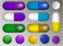 Ensemble de VECTEUR différentes de pilules pourpres, bleues et jaunes illustration libre de droits