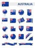 Ensemble de vecteur de drapeau d'Australie illustration libre de droits