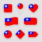 Ensemble de vecteur de drapeau de Taïwan Le Taiwanais marque la collection d'autocollants Icônes géométriques d'isolement Insigne illustration libre de droits